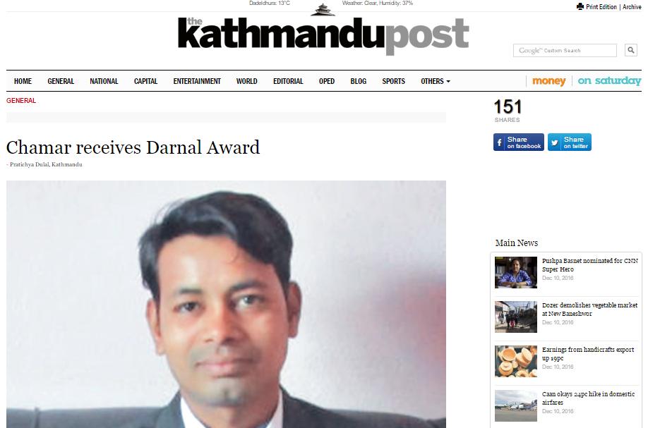 THE KATHMANDU POST: THRD Alliance Employee Receives Darnal Award
