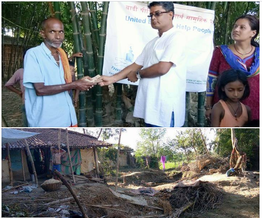 THRD Alliance and ANTA provided financial support of Rs 20,000 to Ram Sauharath Yadav to reconstruct his house. His house has fallen down by the recent flood( Marahi, Mahottari).